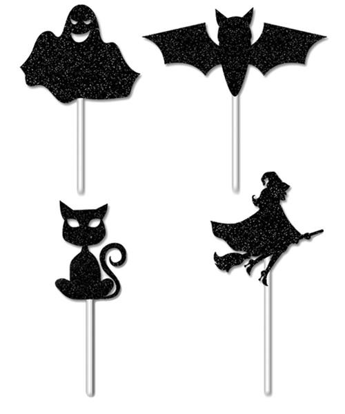 Cake/Cupcake Toppers (4pcs) - Glittery Black Spooks & Spells