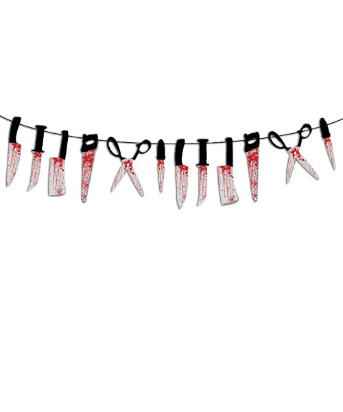 [Halloween] Bloody Blades Bunting (3 meter) - Knives, Scissors and Saws