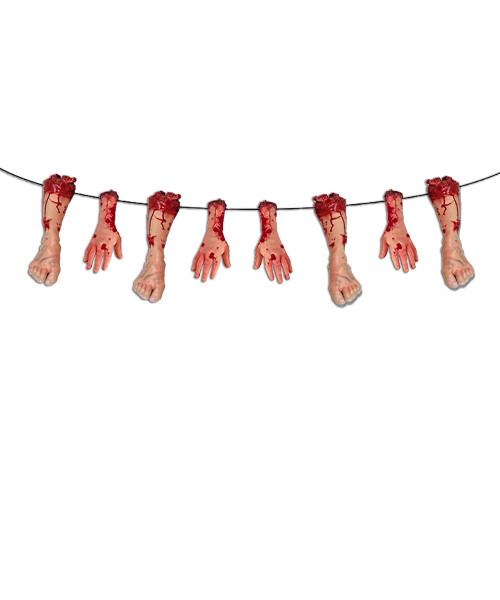 [Halloween] Bloody Parts Bunting (3 meter) - Hands & Legs