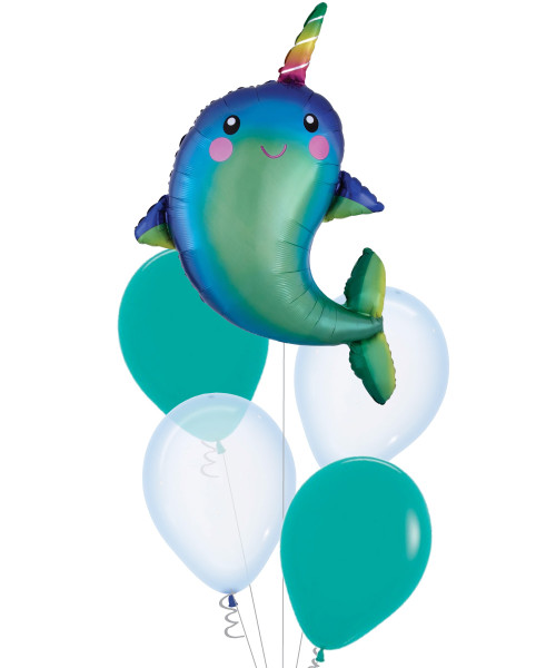 [Narwhal] Happy Narwhal Crystal Pastel Balloons Bouquet