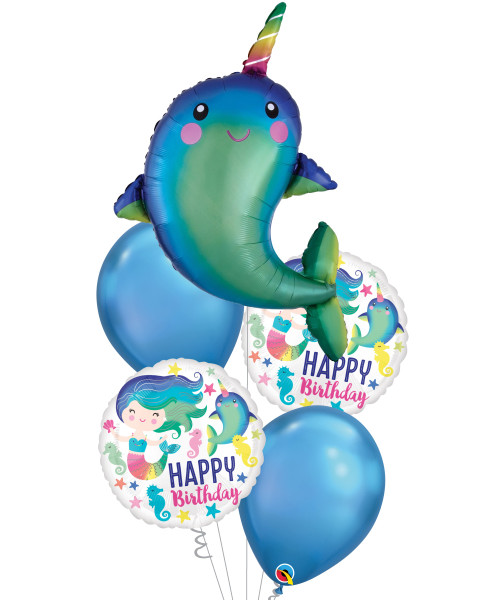 [Narwhal] Happy Narwhal Ocean Fun HBD Chrome Balloons Bouquet