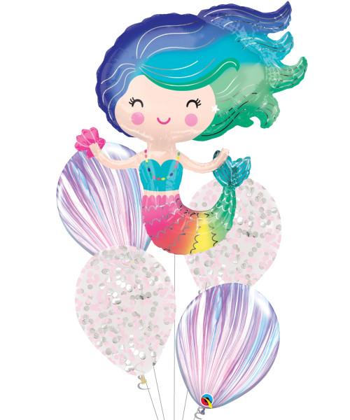 [Mermaid] Colorful Mermaid Marble Balloons Bouquet
