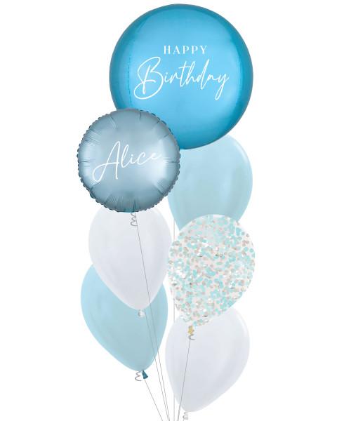 [Oliver Orbz] Personalised Oliver Orbz Balloons Bouquet - Pastel Blue