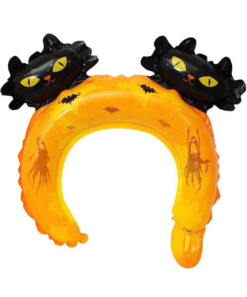 Trendy Halloween Balloon Headband - Wicked Black Cat