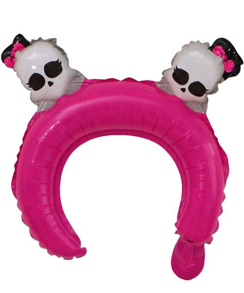 Trendy Halloween Balloon Headband - Lady Skull