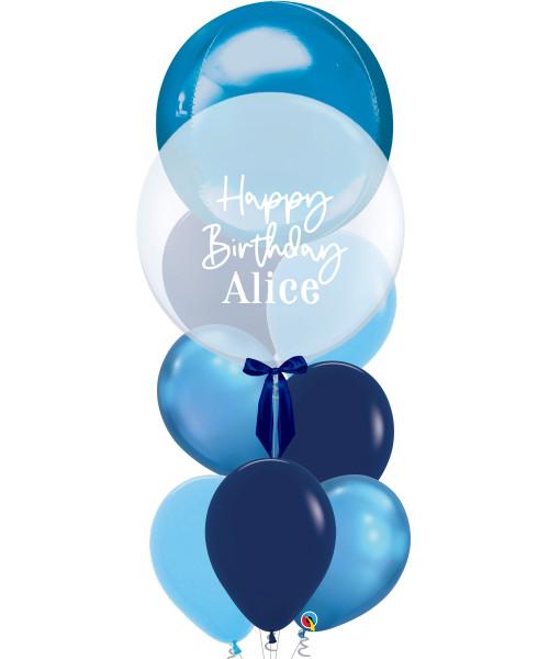 "[Oscar Orbz Bubble] 22"" Personalised Oscar Orbz Bubble Balloons Bouquet - Blue"