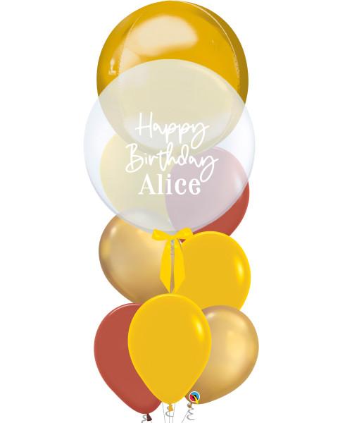 "[Oscar Orbz Bubble] 22"" Personalised Oscar Orbz Bubble Balloons Bouquet - Gold"