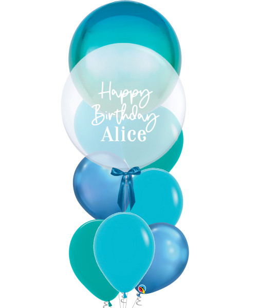 "[Oscar Orbz Bubble] 22"" Personalised Oscar Orbz Bubble Balloons Bouquet - Ombre Blue & Green"