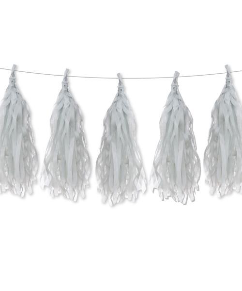 Tissue Paper Tassel Garlands DIY Kit (5 Tassels) - All Grey