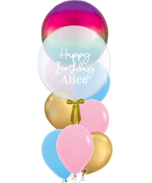 "[Oscar Orbz Bubble] 22"" Personalised Oscar Orbz Bubble Balloons Bouquet - Orbz Rainbow"