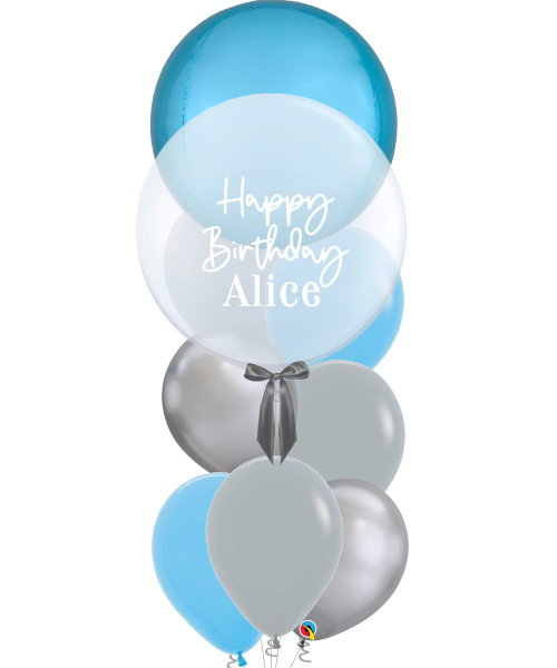 "[Oscar Orbz Bubble] 22"" Personalised Oscar Orbz Bubble Balloons Bouquet - Pastel Blue"