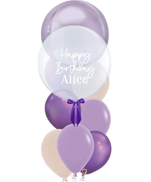 "[Oscar Orbz Bubble] 22"" Personalised Oscar Orbz Bubble Balloons Bouquet - Pastel Lilac"