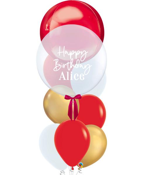 "[Oscar Orbz Bubble] 22"" Personalised Oscar Orbz Bubble Balloons Bouquet - Red"