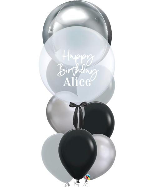 "[Oscar Orbz Bubble] 22"" Personalised Oscar Orbz Bubble Balloons Bouquet - Silver"