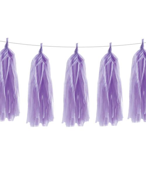 Tissue Paper Tassel Garlands DIY Kit (5 Tassels) - All Lavender Purple