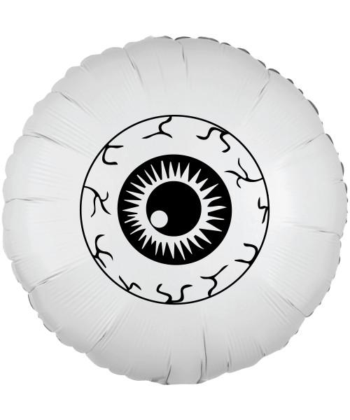 """[Halloween] 17"""" Halloween Themed Metallic White Round Foil Balloon - Eyeball"""