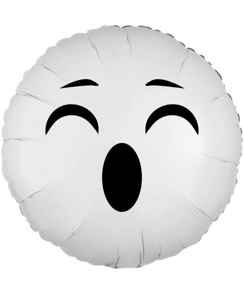 "[Halloween] 17"" Halloween Themed Metallic White Round Foil Balloon - Cute Ghost"