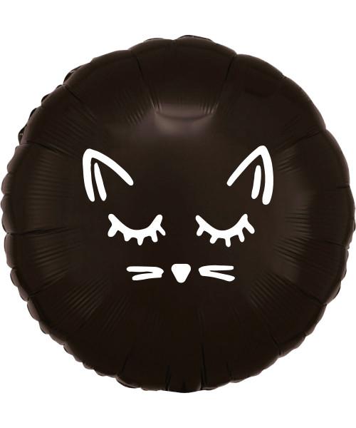 """[Halloween] 17"""" Halloween Themed Metallic Black Round Foil Balloon - Kitty Black"""