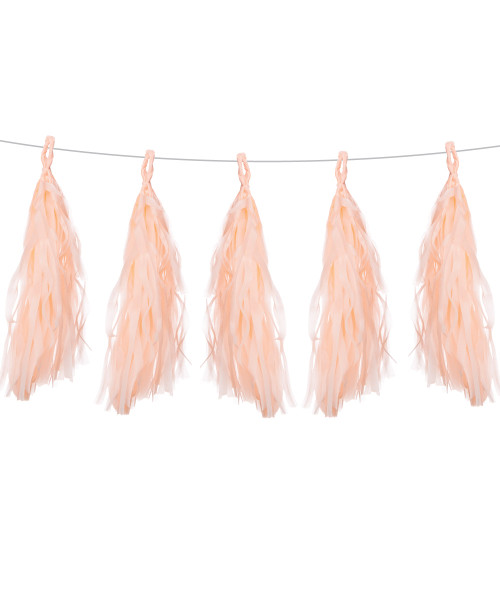 Tissue Paper Tassel Garlands DIY Kit (5 Tassels) - All Peach