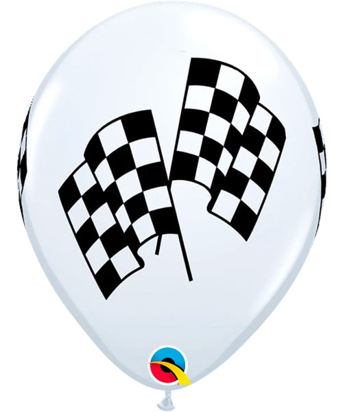 "11"" Racing Flag Print Round Latex Balloon"