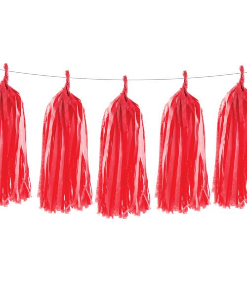 Tissue Paper Tassel Garlands DIY Kit (5 Tassels) - All Red