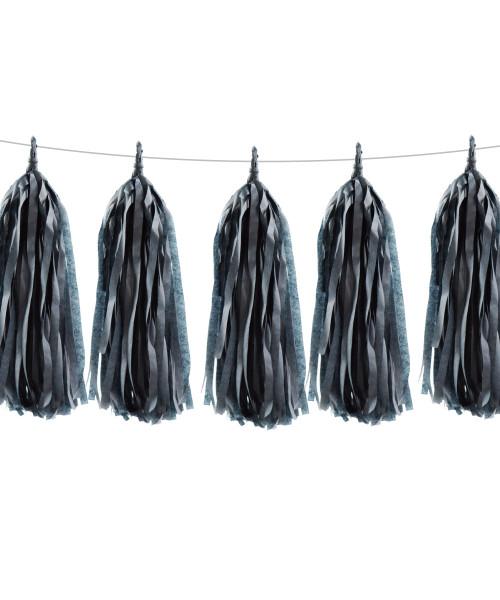 Tissue Paper Tassel Garlands DIY Kit (5 Tassels) - All Black