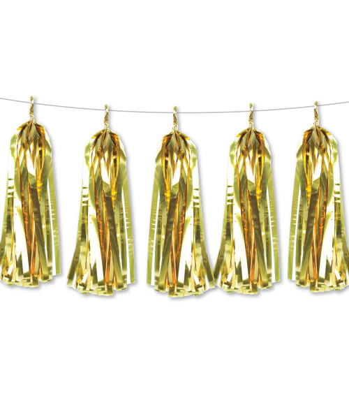 Metallic Foil Paper Tassels Garland DIY Kit (5 Tassels) - All Metallic Gold