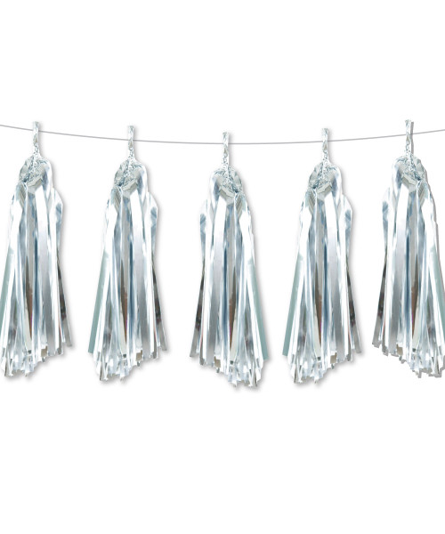 Metallic Foil Paper Tassel Garlands DIY Kit (5 Tassels) - All Metallic Silver