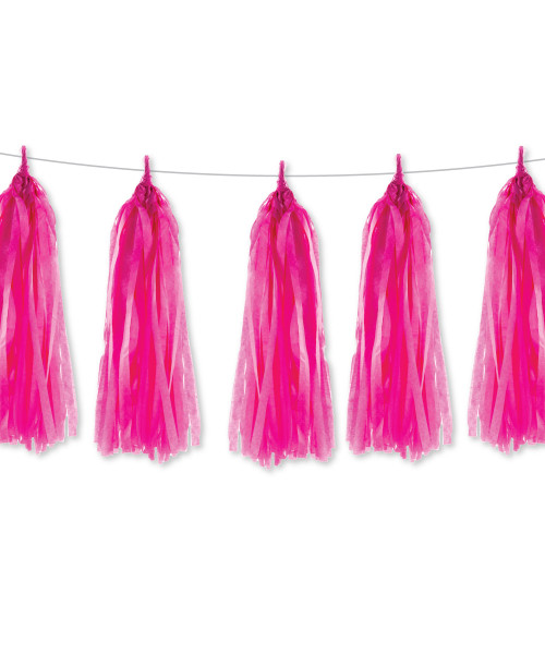 Tissue Paper Tassel Garlands DIY Kit (5 Tassels) - All Hot Pink