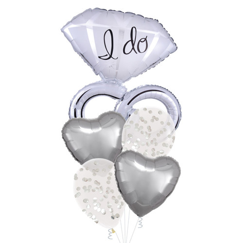 I Do Wedding Diamond Rings Confetti Balloons Bouquet