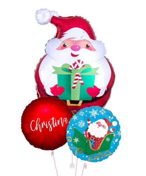 Personalised Name Jovial Santa Merry Christmas Balloons Bouquet