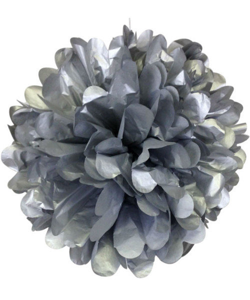 Paper Flower Pom Pom (25cm) - Matt Silver