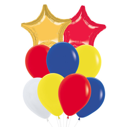 "(Create Your Own Helium Bouquet) 19'' Star Foil Balloons & 12"" Fashion Latex Balloons Cluster - More Colors"