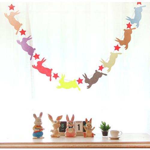 Bunny Star Felt Garland (2.4meter)