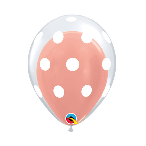 "12"" White Polka Dots Balloon in a Balloon - Metallic Color (21 Colors)"