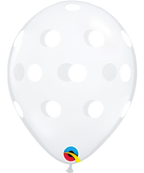 "11"" Clear Transparent White Polka Dots Round Latex Balloon"