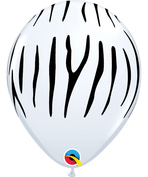 "12"" Safari Animal Print Round Latex Balloon - Zebra Stripes"