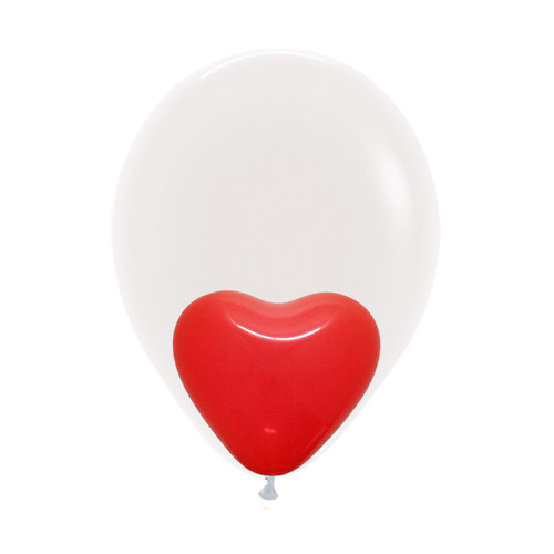 "12"" Balloon in a Balloon - 5"" Mini Heart Latex (7 Colors)"