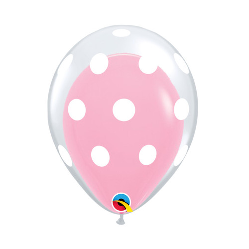 "12"" White Polka Dots Balloon in a Balloon - Fashion Color (25 Colors)"