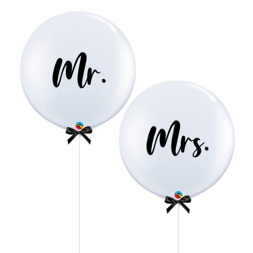 """36""""Jumbo Mr & Mrs Balloon Set (Bold Cursive Text Design)"""