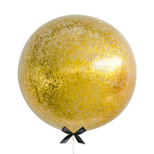 36'' Jumbo Perfectly Round Jumbo Balloon - Metallic Gold Confetti