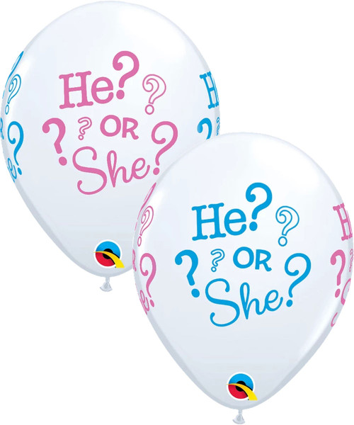 "12"" He? or She? Gender Reveal Latex Balloon"