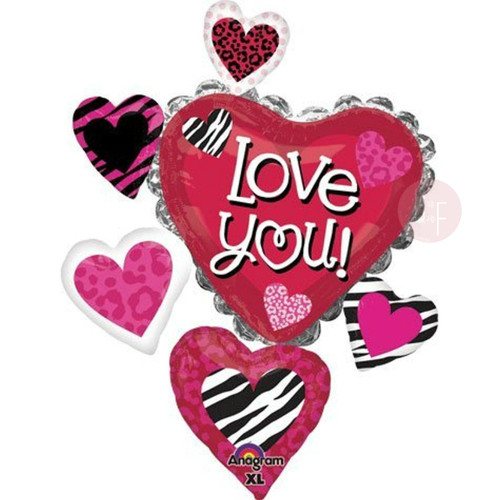 Love You Animal Print Cluster Foil Balloon (34inch)