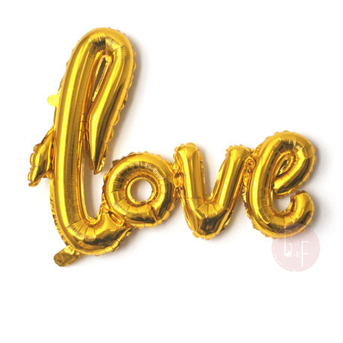 Gold Cursive Love Script Foil Balloon