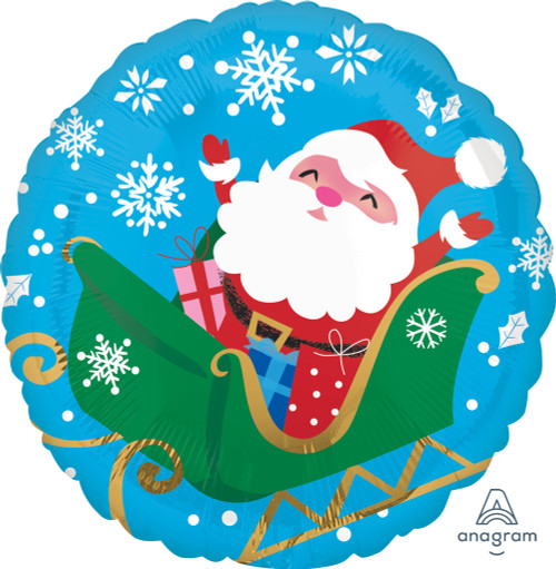 Happy Santa in Sleigh Foil Balloon (17inch)