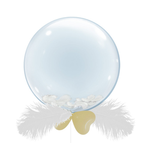 "24"" Crystal Clear Transparent Balloons - Feathers Filled (12 Feather Colors)"