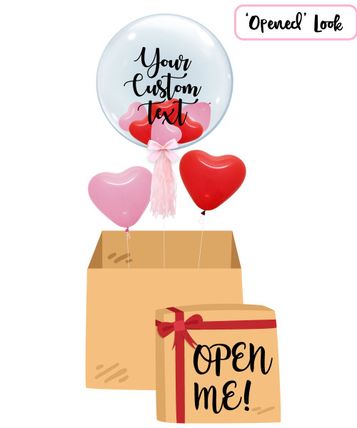 "[Personalised Balloon Surprise Box] 24"" Personalised Crystal Clear Transparent Balloon - Mini Hearts Balloons Filled"