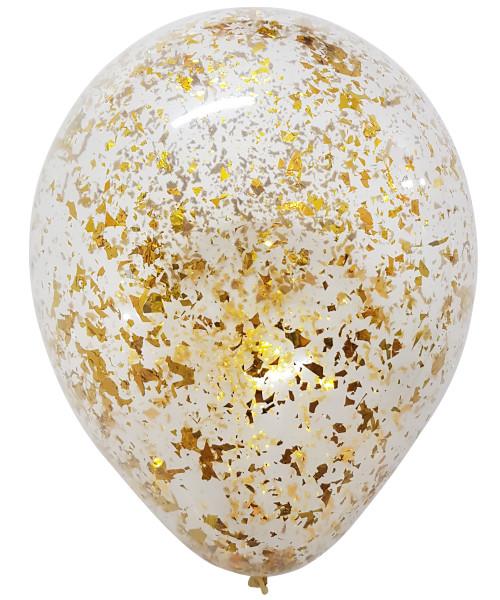 12'' Metallic Confetti Clear Latex Balloon - Gold (7A2698)
