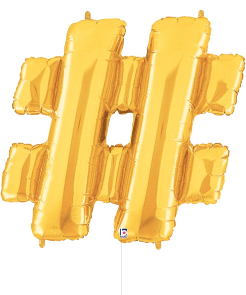 "14"" Small Symbol Foil Balloon (Gold) - Hashtag '#'"