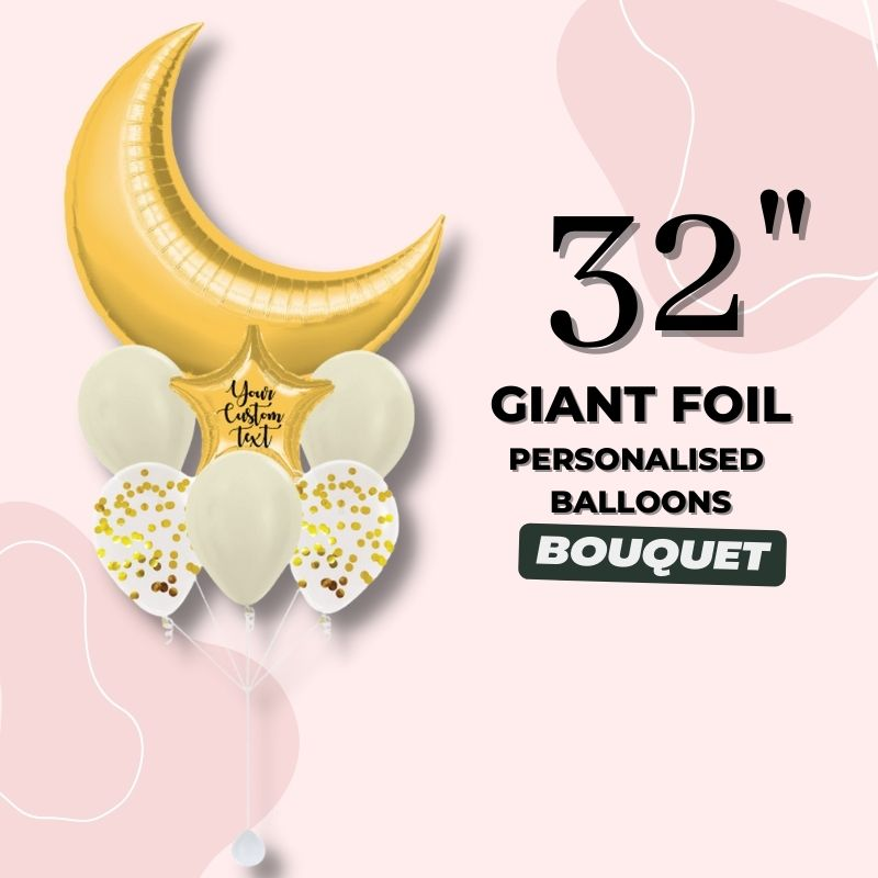 """32"""" Giant Foil Personalised Ballloons Bouquet by Give Fun Singapore Party Balloons"""